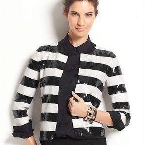 AnnTaylor 3/4 sleeve black sequins striped jacket